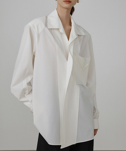 【UNSPOKEN】Double pocket long shirt UX21S050