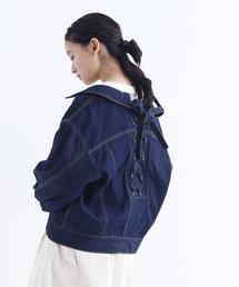 merlot(メルロー)の後ろ編み上げデニムジャケット052-7021(デニムジャケット)