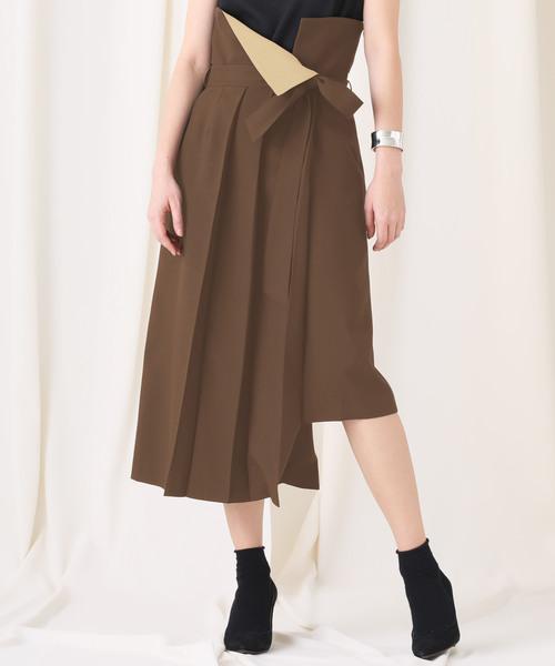 STUDIOUS(ステュディオス)の「【STUDIOUS】ドライポプリン アシンメトリープリーツスカート(スカート)」 ブラウン