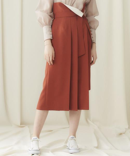 STUDIOUS(ステュディオス)の「【STUDIOUS】ドライポプリン アシンメトリープリーツスカート(スカート)」 オレンジ