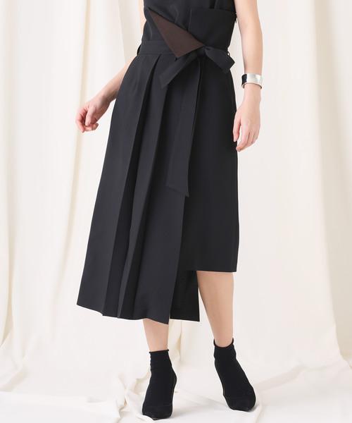STUDIOUS(ステュディオス)の「【STUDIOUS】ドライポプリン アシンメトリープリーツスカート(スカート)」 ブラック