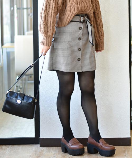 サイド釦チェック台形スカート