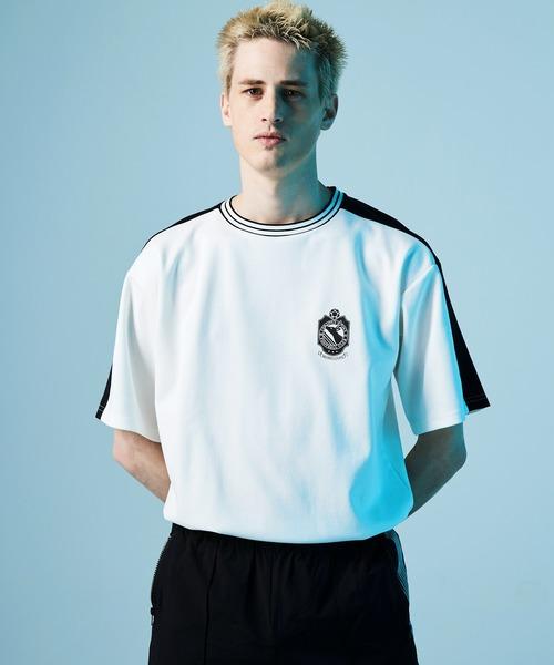 ポンチローマ オーバーサイズ 切り替え Footballロゴカットソー 1/2 sleeve (EMMA CLOTHES)