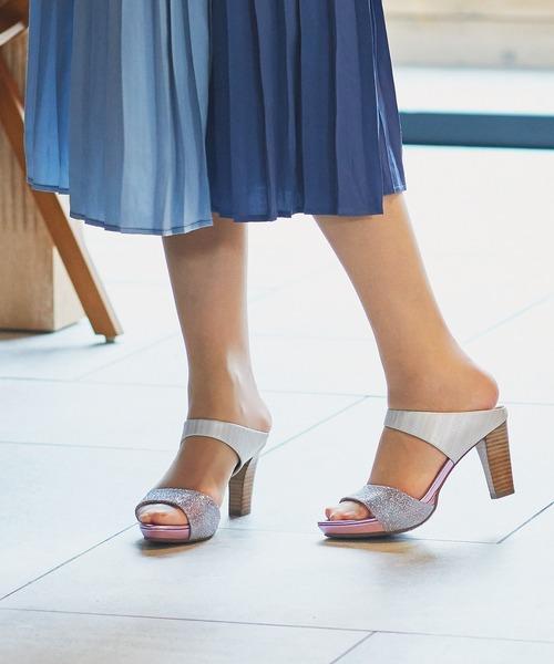 coca(ANDEX shoes product)(コカ)の「coca / コカ ストーム付き ダブルベルト ミュール 8cm ヒール サンダルミュール 120017(サンダル)」|ピンク