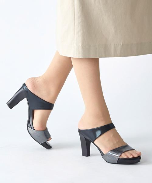 coca(ANDEX shoes product)(コカ)の「coca / コカ ストーム付き ダブルベルト ミュール 8cm ヒール サンダルミュール 120017(サンダル)」|ブラック