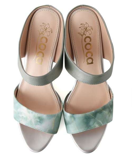 coca(ANDEX shoes product)(コカ)の「coca / コカ ストーム付き ダブルベルト ミュール 8cm ヒール サンダルミュール 120017(サンダル)」|詳細画像