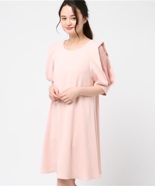 Luxe brille(リュクスブリエ)の「袖タックレース使いAラインフレアーワンピース(ドレス)」|ピンク