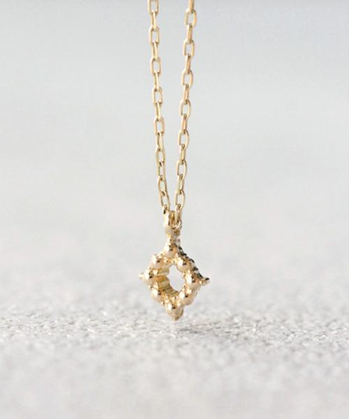NOIR DE POUPEE(ノワールドプーペ)の「K10 レイヤー ゴールド ミル ひし形 ネックレス(ネックレス)」|ゴールド