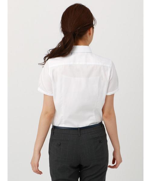【半袖】High Quality Blouse パールボタンレギュラーカラー 織柄