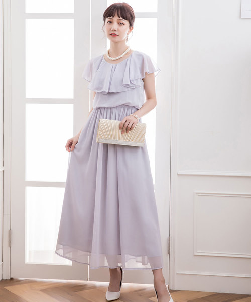 b417f97d566c8 DRESS STAR(ドレス スター)のシフォンマキシ丈ロングワンピース(ドレス)