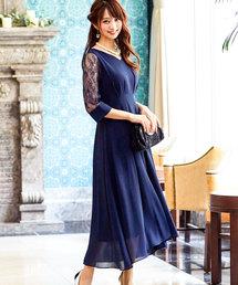 Fashion Letter(ファッションレター)のレース袖セミロングワンピースドレス(ドレス)