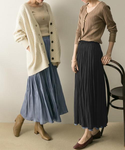 URBAN RESEARCH(アーバンリサーチ)の「プリーツギャザーリバースカート(スカート)」|ブルー系その他