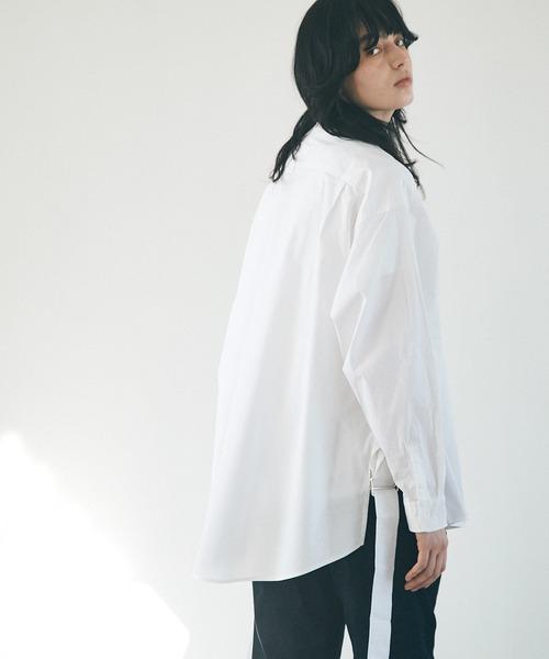 オーバーサイズ サイドスリットベルト ルーズスリーブシャツ