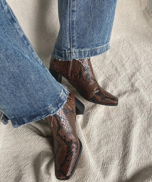 【chuclla】【2021/AW】Half-moon heel square boots chs21a002
