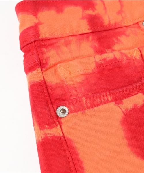 【数量限定】インポート タイダイデニムショートパンツ コットン エスニック柄 レッド×オレンジ レディース [BB Dakota/ビービー・ダコタ]