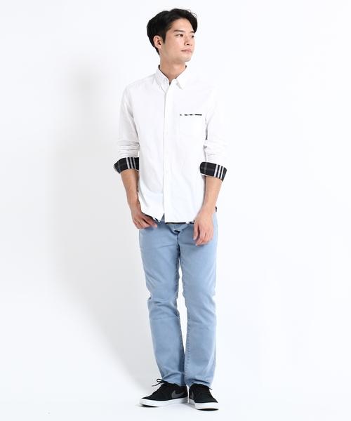 裾パイピングシャツ