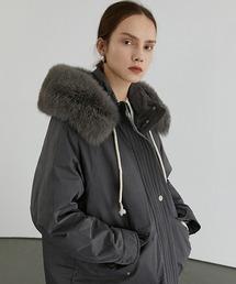 【Fano Studios】【2021AW】Faux fur High neck hooded down jacket FD20Y033グレー