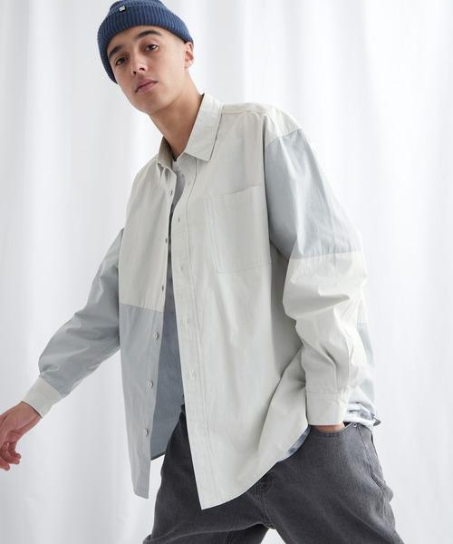 同色パッチワークオーバーサイズL/Sシャツ EMMA CLOTHES 2021 SPRING