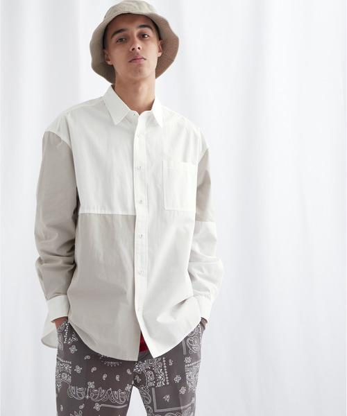同色パッチワークオーバーサイズL/Sシャツ EMMA CLOTHES 2021 AUTUMN
