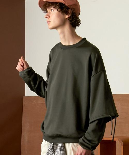 ビッグシルエット クオリティーブライト裏毛 レイヤードプルオーバースウェット/EMMA CLOTHES (セットアップ対応)