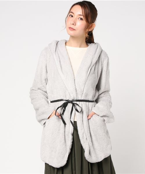 フード付きボアジャケットコート
