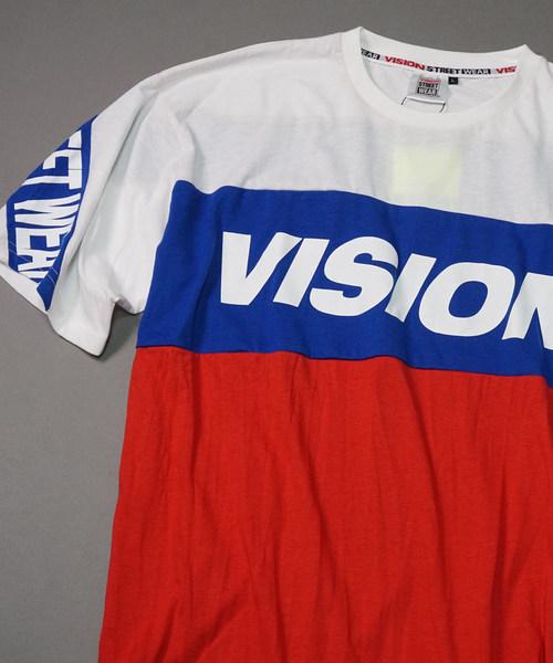 【VISION / ビジョン】バイカラースポーツロゴ切り替えTシャツ