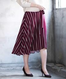 MK MICHEL KLEIN(エムケーミッシェルクラン)の【洗濯機で洗える】レジメンタルストライプ柄イレヘムスカート(スカート)