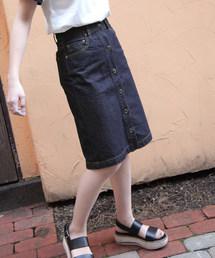 2e804be1c622d4 ZIP FIVE(ジップファイブ)のフロントボタンスカート(デニムスカート)
