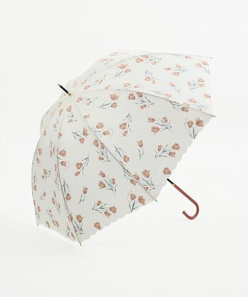 Cocoonist(コクーニスト)の「チューリップ柄晴雨兼用長傘 雨傘(長傘)」 ホワイト