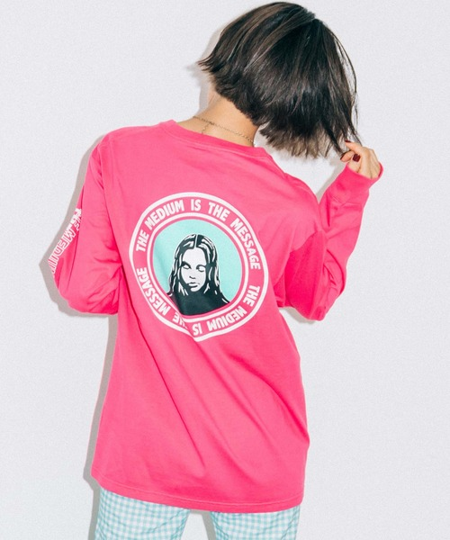 X-girl(エックスガール)の「CIRCLE FACE L/S TEE(Tシャツ/カットソー)」|ピンク