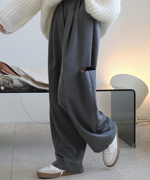 【chuclla】【2021/AW】Cut out wide slacks chw21a039
