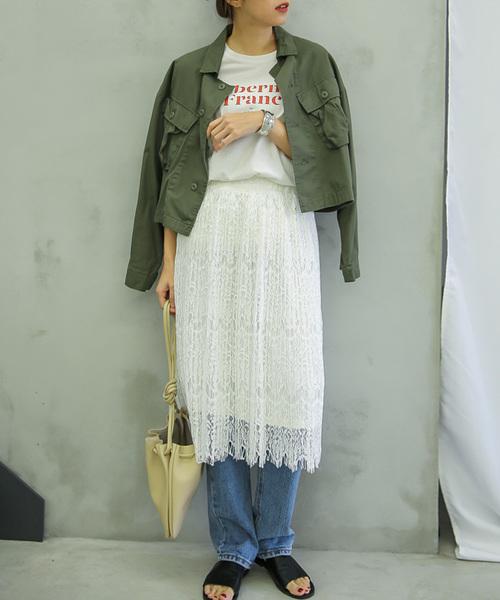 select MOCA(セレクトモカ)の「ウエストゴム裏地付き裾ひげレースデザインひざ丈総レース細プリーツスカート(スカート)」|ホワイト