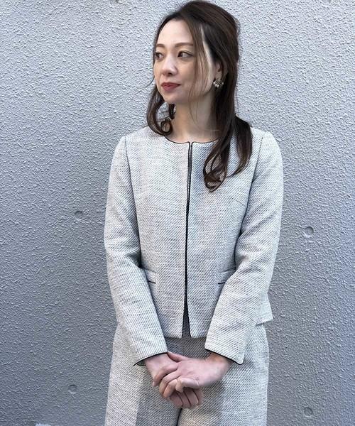 PICCIN(ピッチン)の「【WEB限定】綾織りツイードノーカラージャケット(スーツジャケット)」|ブラック
