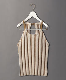 <6(ROKU)>STRIPE HALTER NECK KNIT/ニット
