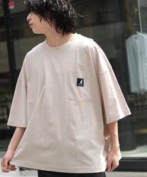 KANGOL/カンゴール 別注 ビッグシルエット ロゴピスネーム ポケット半袖Tシャツ 無地T トップス Tシャツベージュ系その他