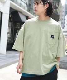 KANGOL/カンゴール 別注 ビッグシルエット ロゴピスネーム ポケット半袖Tシャツ 無地T トップス Tシャツグリーン系その他
