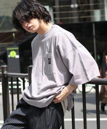 KANGOL/カンゴール 別注 ビッグシルエット ロゴピスネーム ポケット半袖Tシャツ 無地T トップス Tシャツパープル系その他