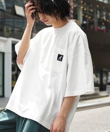 KANGOL/カンゴール 別注 ビッグシルエット ロゴピスネーム ポケット半袖Tシャツ 無地T トップス Tシャツホワイト