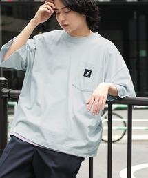 KANGOL/カンゴール 別注 ビッグシルエット ロゴピスネーム ポケット半袖Tシャツ 無地T トップス Tシャツライトブルー