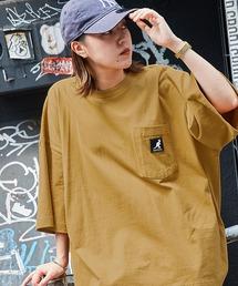 KANGOL/カンゴール 別注 ビッグシルエット ロゴピスネーム ポケット半袖Tシャツ 無地T トップス Tシャツマスタード