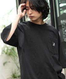 KANGOL/カンゴール 別注 ビッグシルエット ロゴピスネーム ポケット半袖Tシャツ 無地T トップス Tシャツブラック