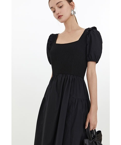 【Fano Studios】【2021SS】Square neck ruffled puff sleeve dress FX21L133