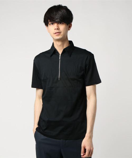 BLUE TORNADO(ブルートルネード)の「BLUE TORNADO∴シルケットスムース半袖Zipポロシャツ(Tシャツ/カットソー)」|ブラック