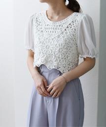 コード刺繍クロップドBLオフホワイト