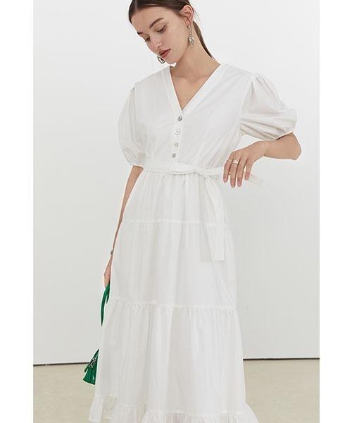 【Fano Studios】【2021SS】Vneck cotton tiered dress FX21L153