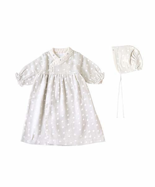 NAOMI ITO(ナオミイトウ)の「NAOMI ITO わたガーゼベビードレス(ロンパース)」|グレー×ホワイト