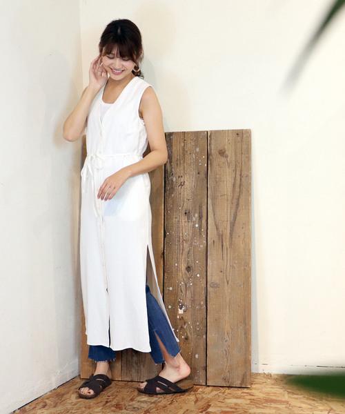 【Allumer/アリュメール】Vest Dress フロントボタンワンピース