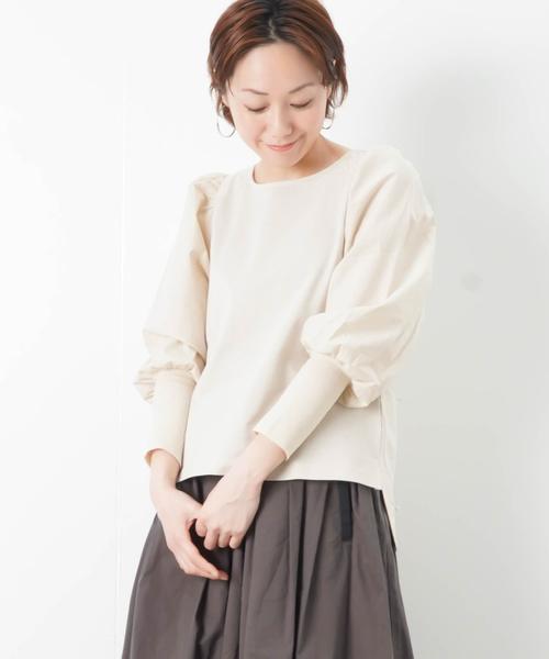 LC/LLL 袖ギャザー 切替カットソー
