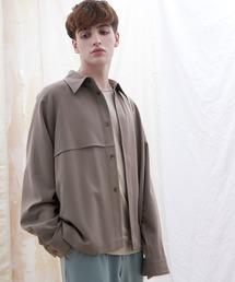 TRストレッチ ビッグシルエット L/S ヨークトレンチシャツ(EMMA CLOTHES)ブラウン系その他