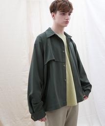 TRストレッチ ビッグシルエット L/S ヨークトレンチシャツ(EMMA CLOTHES)グリーン